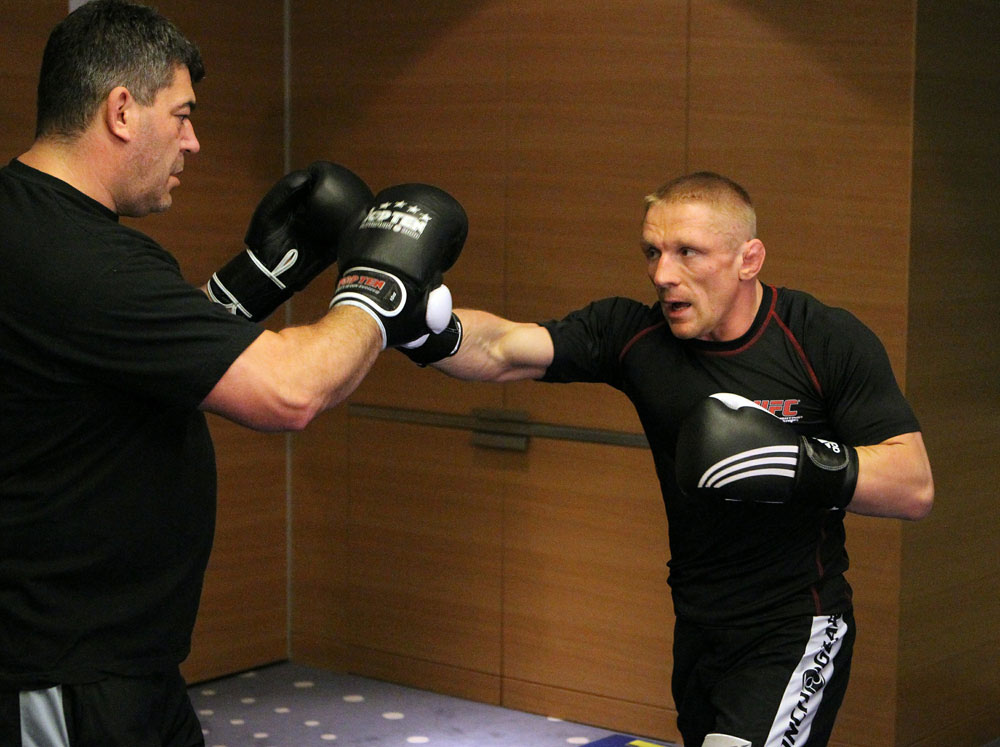 Dennis Siver of Germany (R) works out at the UFC 122 open workouts at the Hilton Hotel on November 10,  2010 in Dusseldorf, Germany.  (Photo by Josh Hedges/Zuffa LLC via Getty Images)