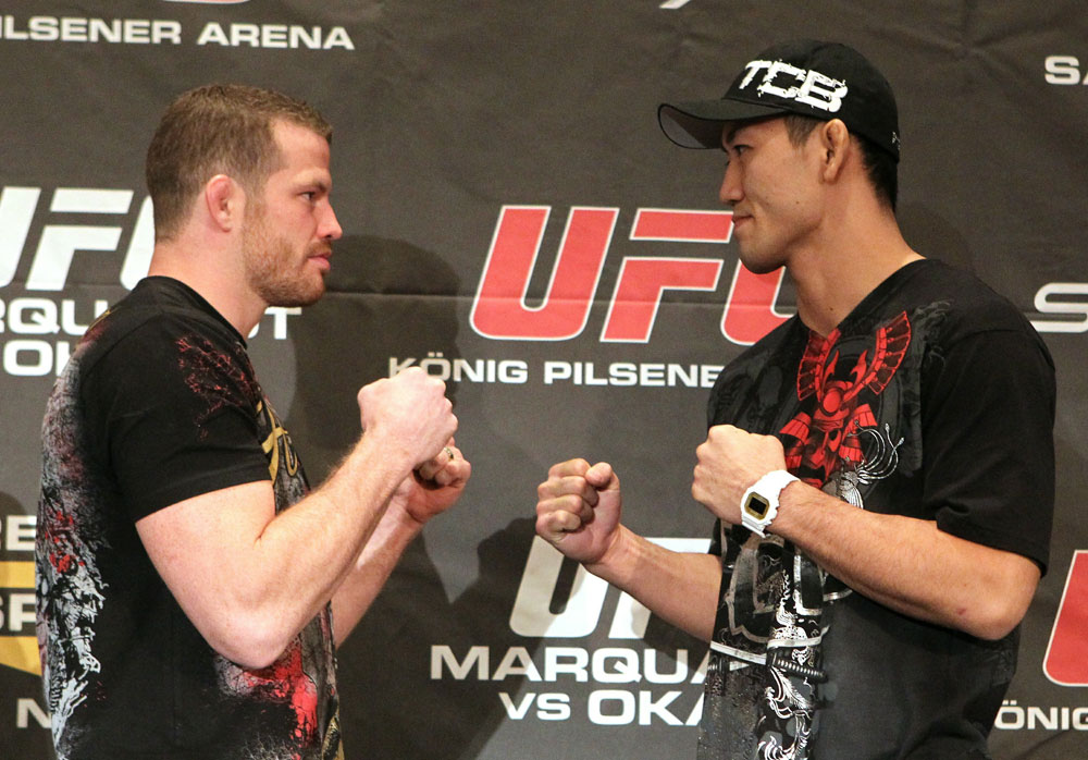 (L-R) Middleweight opponents Nate Marquardt and Yushin Okami face off at the UFC 122 pre-fight press conference at the Hilton Hotel on November 11,  2010 in Dusseldorf, Germany.  (Photo by Josh Hedges/Zuffa LLC/Zuffa LLC via Getty Images)