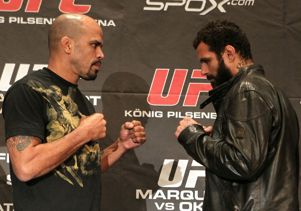 (L-R) Middleweight opponents Jorge Rivera and Alessio Sakara face off at the UFC 122 pre-fight press conference at the Hilton Hotel on November 11,  2010 in Dusseldorf, Germany.  (Photo by Josh Hedges/Zuffa LLC/Zuffa LLC via Getty Images)