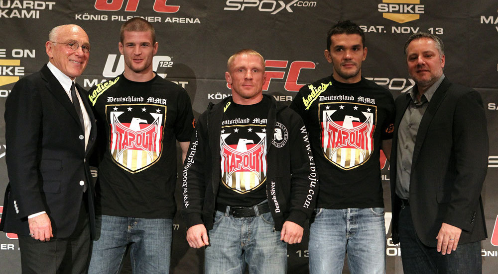 (L-R) German Promoter Marek Lieberberg, German fighters Pascal Krauss, Dennis Siver, Peter Sobotta, and UFC UK President Marshall Zelaznik at the UFC 122 pre-fight press conference.