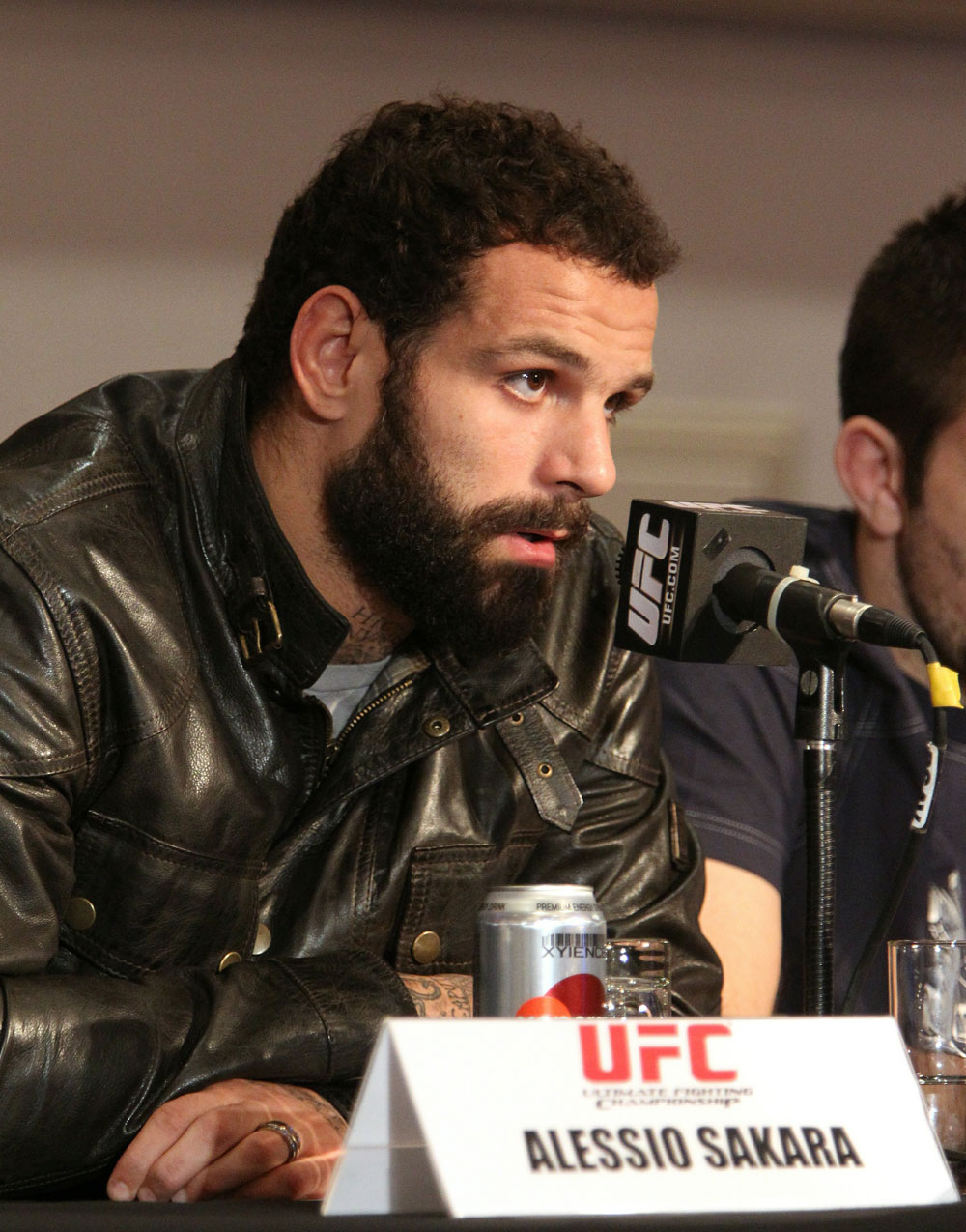 Alessio Sakara, of Italy speaks at the UFC 122 pre-fight press conference at the Hilton Hotel on November 11,  2010 in Dusseldorf, Germany.  (Photo by Josh Hedges/Zuffa LLC/Zuffa LLC via Getty Images)