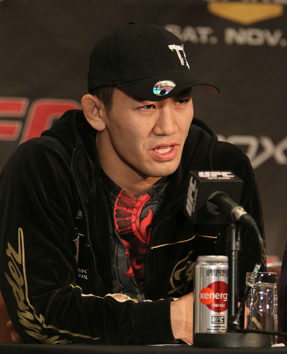 Yushin Okami, of Japan, at the UFC 122 pre-fight press conference at the Hilton Hotel on November 11,  2010 in Dusseldorf, Germany.  (Photo by Josh Hedges/Zuffa LLC/Zuffa LLC via Getty Images)