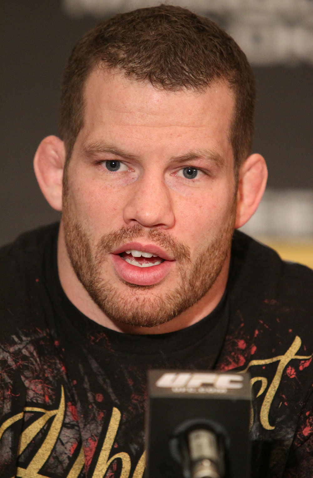 Nate Marquardt speaks at the UFC 122 pre-fight press conference at the Hilton Hotel on November 11,  2010 in Dusseldorf, Germany.  (Photo by Josh Hedges/Zuffa LLC/Zuffa LLC via Getty Images)