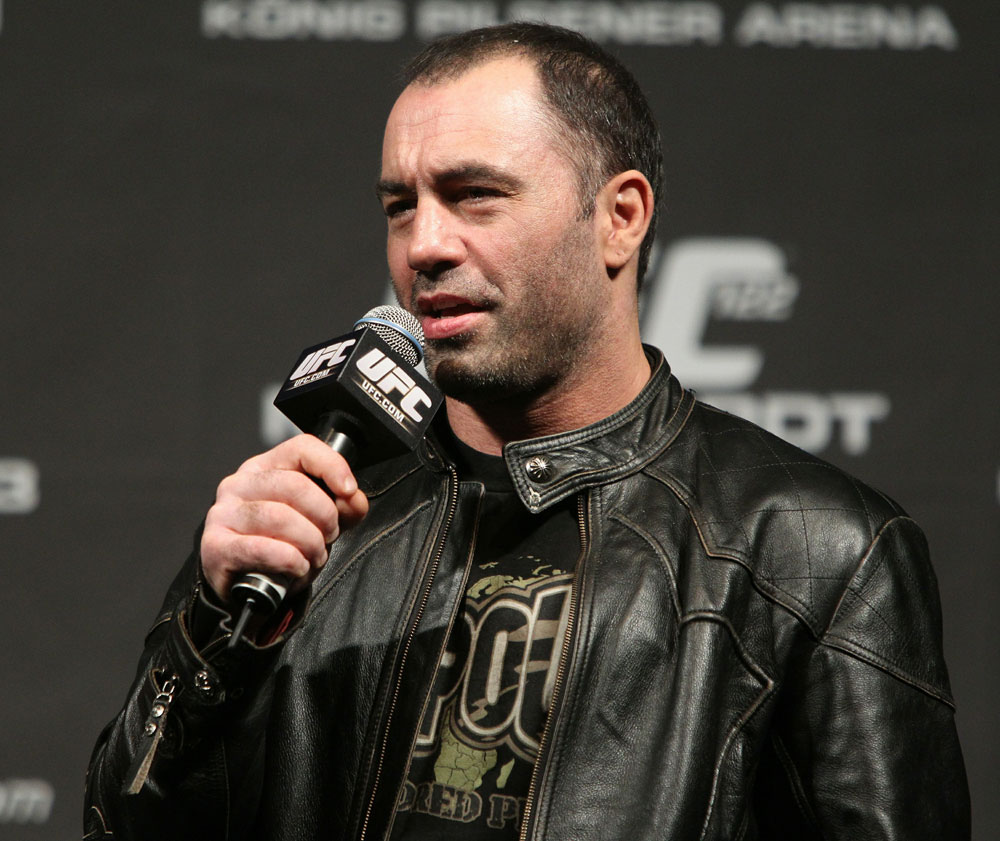UFC commentator Joe Rogan answers questions from the fans before the UFC 122 weigh-in at the Kšnig Pilsener Arena on November 12,  2010 in Oberhausen, Germany.  (Photo by Josh Hedges/Zuffa LLC/Zuffa LLC via Getty Images)