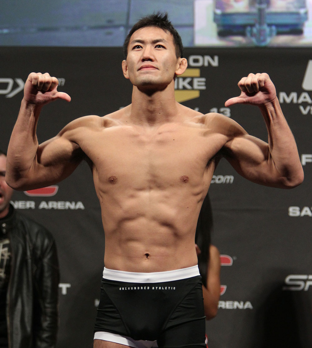 Yushin Okami of Japan weighs in at 185 lbs at the UFC 122 weigh-in at the Koenig Pilsener Arena on November 12,  2010 in Oberhausen, Germany.  (Photo by Josh Hedges/Zuffa LLC/Zuffa LLC via Getty Images)