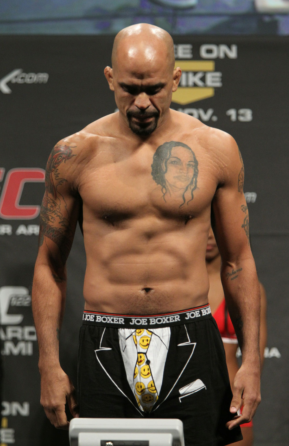 Jorge Rivera of United States weighs in at 185 lbs at the UFC 122 weigh-in at the Koenig Pilsener Arena on November 12,  2010 in Oberhausen, Germany.  (Photo by Josh Hedges/Zuffa LLC/Zuffa LLC via Getty Images)