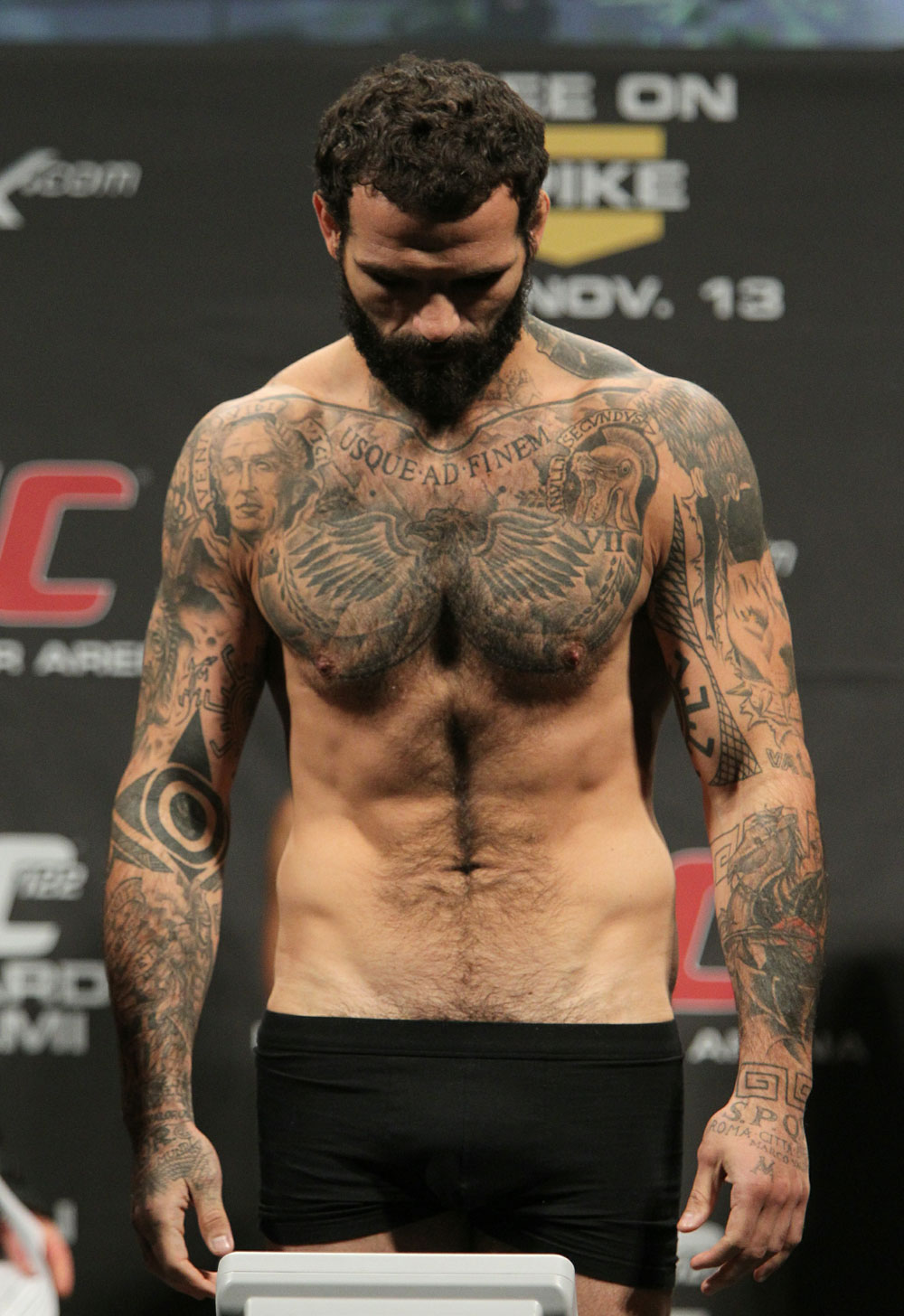 Alessio Sakara of Italy weighs in at 186 lbs at the UFC 122 weigh-in at the Koenig Pilsener Arena on November 12,  2010 in Oberhausen, Germany.  (Photo by Josh Hedges/Zuffa LLC/Zuffa LLC via Getty Images)