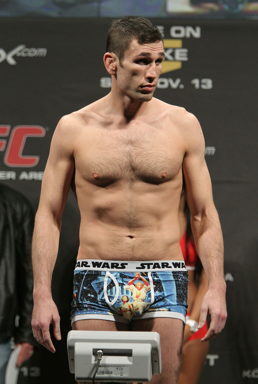 Amir Sadollah of United States weighs in at 170 lbs at the UFC 122 weigh-in at the Koenig Pilsener Arena on November 12,  2010 in Oberhausen, Germany.  (Photo by Josh Hedges/Zuffa LLC/Zuffa LLC via Getty Images)