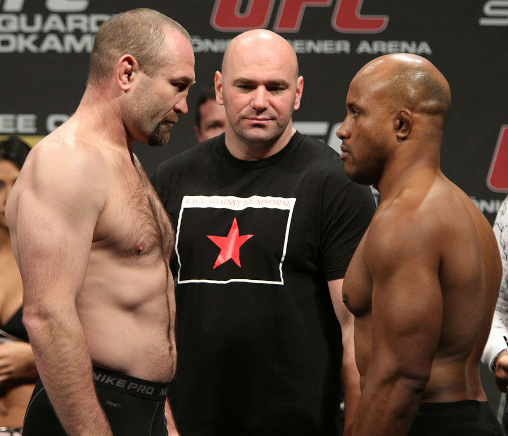 Light Heavyweight opponents Vladimir Matyushenko (L) and Alexandre Ferreira (R) face off as UFC President Dana White looks on at the UFC 122 weigh-in at the Kšnig Pilsener Arena on November 12,  2010 in Oberhausen, Germany.  (Photo by Josh Hedges/Zuffa LLC/Zuffa LLC via Get