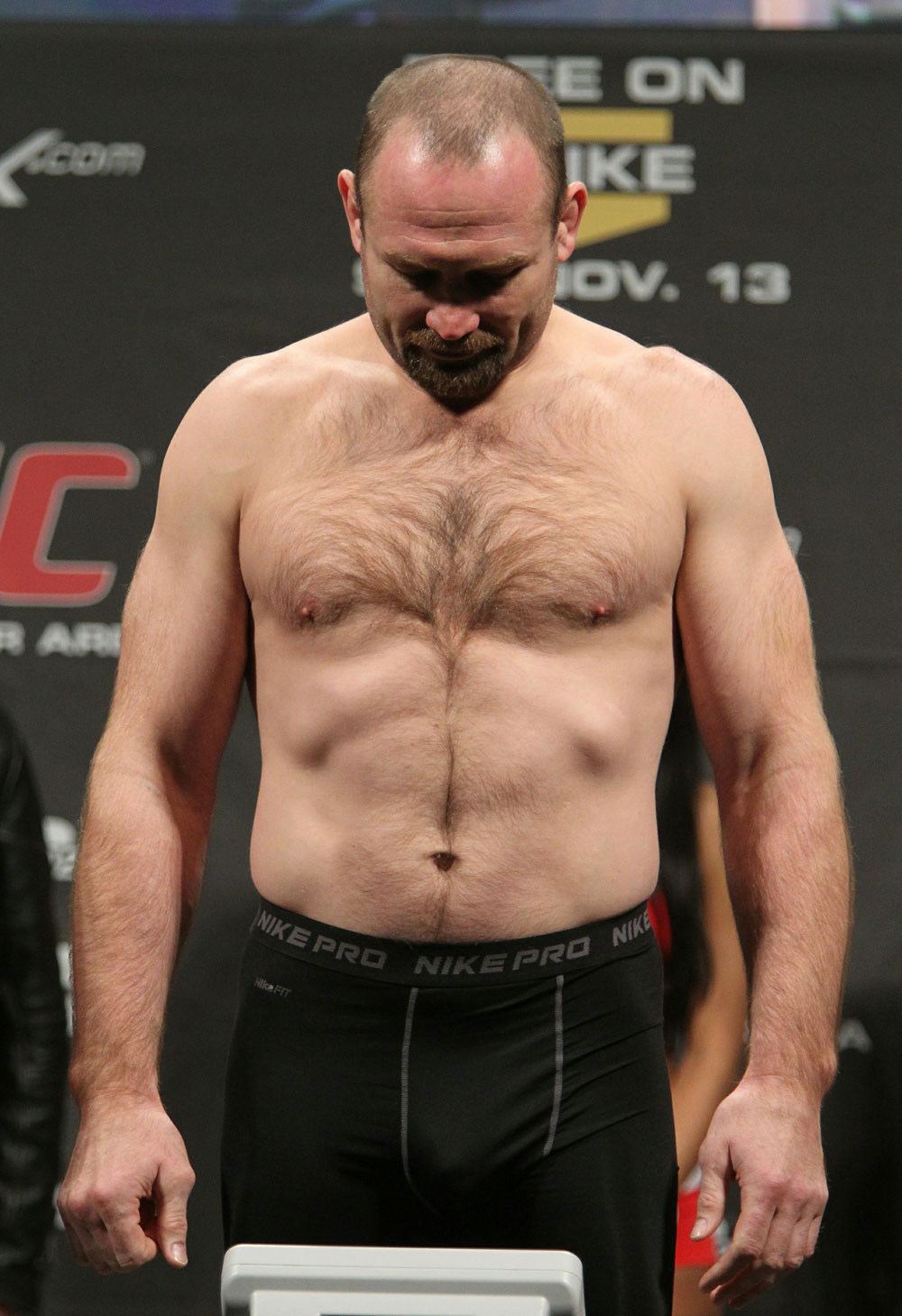 "Vladimir ""The Janitor"" Matyushenko weighs in at 205 lbs at the UFC 122 weigh-in at the Kšnig Pilsener Arena on November 12,  2010 in Oberhausen, Germany.  (Photo by Josh Hedges/Zuffa LLC/Zuffa LLC via Getty Images)"