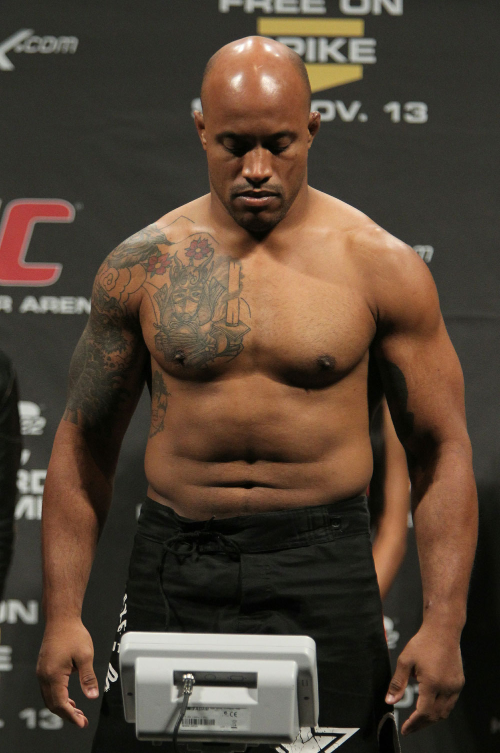 "Alexandre ""Cacareco"" Ferreira weighs in at 204 lbs at the UFC 122 weigh-in at the Kšnig Pilsener Arena on November 12,  2010 in Oberhausen, Germany.  (Photo by Josh Hedges/Zuffa LLC/Zuffa LLC via Getty Images)"