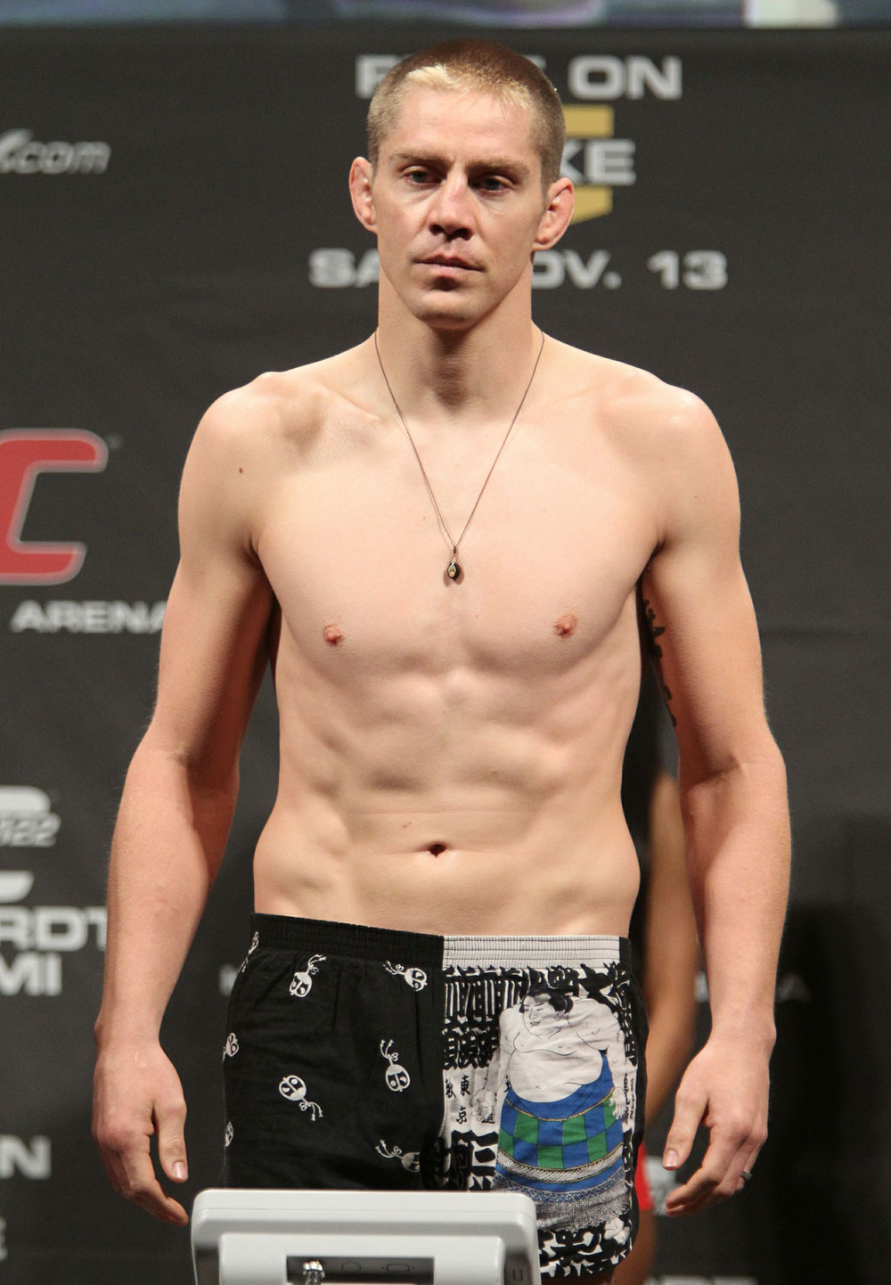 "Duane ""Bang"" Ludwig weighs in at 170 lbs at the UFC 122 weigh-in at the Kšnig Pilsener Arena on November 12,  2010 in Oberhausen, Germany.  (Photo by Josh Hedges/Zuffa LLC/Zuffa LLC via Getty Images)"