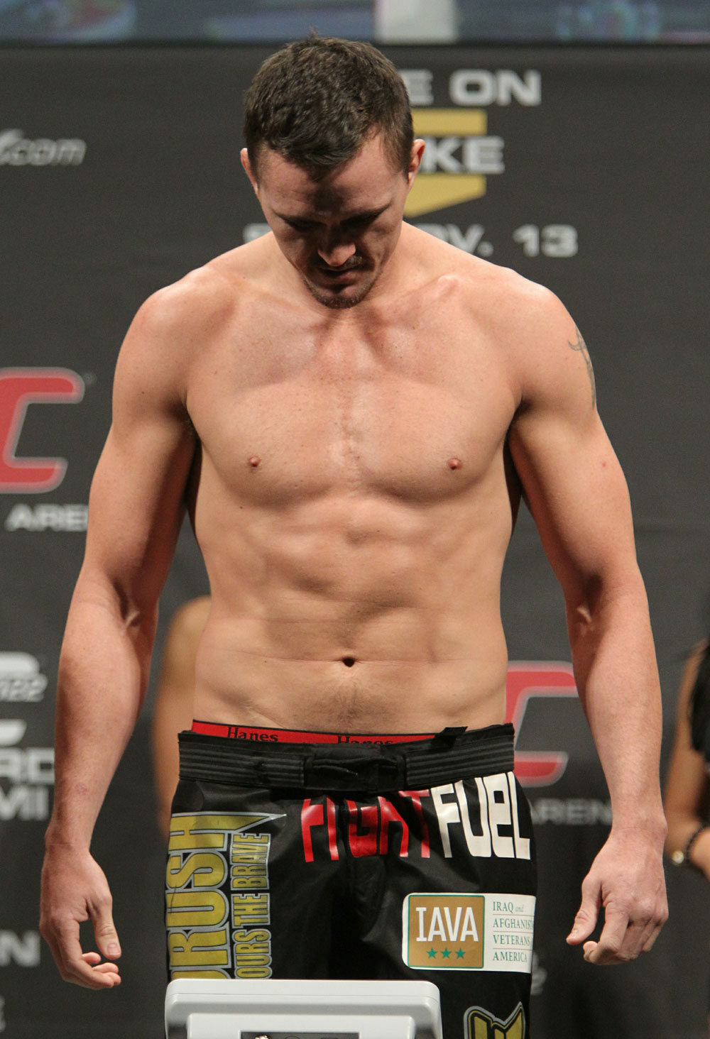 Kyle Noke weighs in at 185 lbs at the UFC 122 weigh-in at the Kšnig Pilsener Arena on November 12,  2010 in Oberhausen, Germany.  (Photo by Josh Hedges/Zuffa LLC/Zuffa LLC via Getty Images)