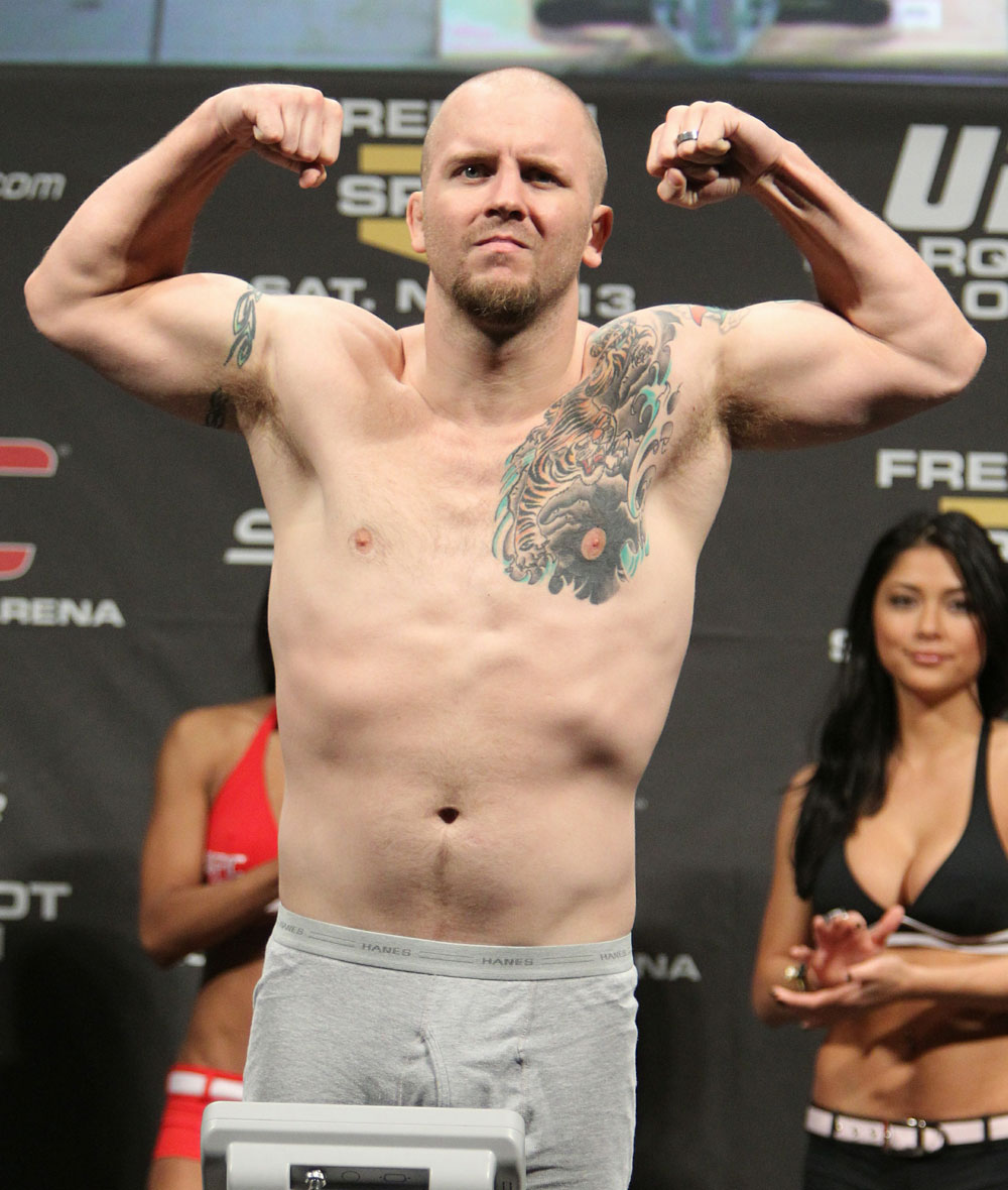 Rob Kimmons weighs in at 184 lbs at the UFC 122 weigh-in at the K&scaron;nig Pilsener Arena on November 12,  2010 in Oberhausen, Germany.  (Photo by Josh Hedges/Zuffa LLC/Zuffa LLC via Getty Images)