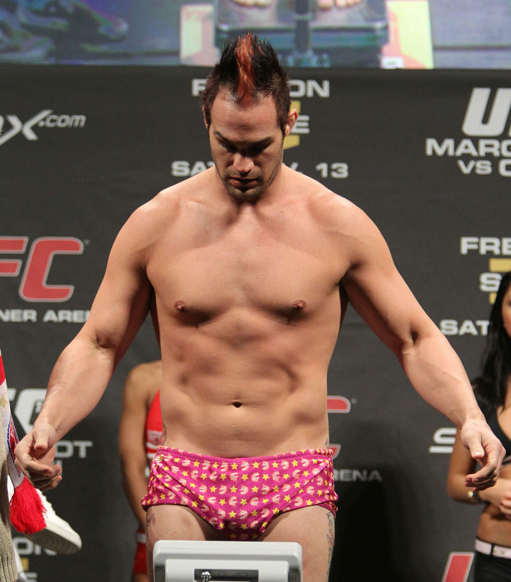 Seth Petruzelli weighs in at 205 lbs at the UFC 122 weigh-in at the K&scaron;nig Pilsener Arena on November 12,  2010 in Oberhausen, Germany.  (Photo by Josh Hedges/Zuffa LLC/Zuffa LLC via Getty Images)