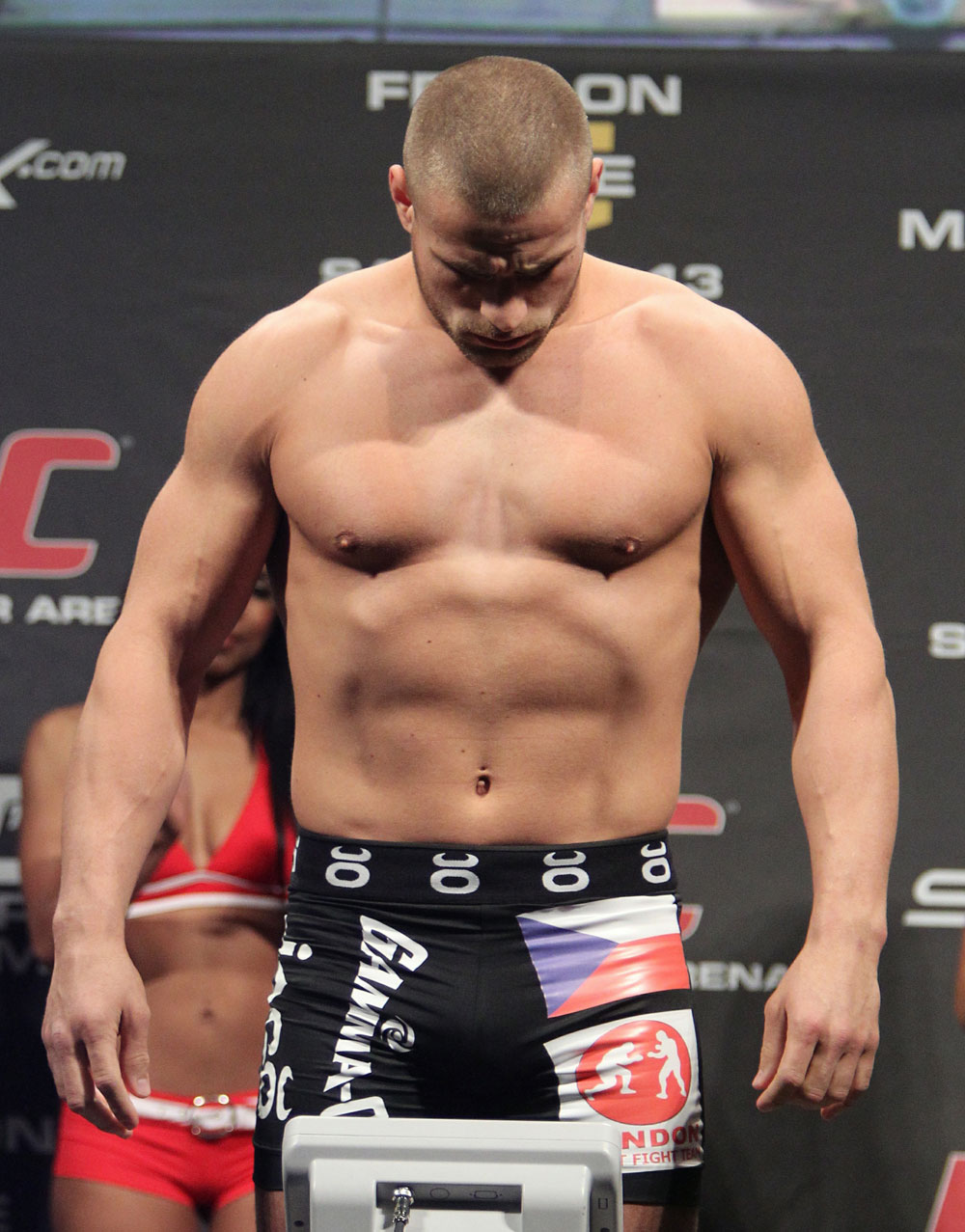 Karlos Vemola weighs in at 205 lbs at the UFC 122 weigh-in at the Kšnig Pilsener Arena on November 12,  2010 in Oberhausen, Germany.  (Photo by Josh Hedges/Zuffa LLC/Zuffa LLC via Getty Images)