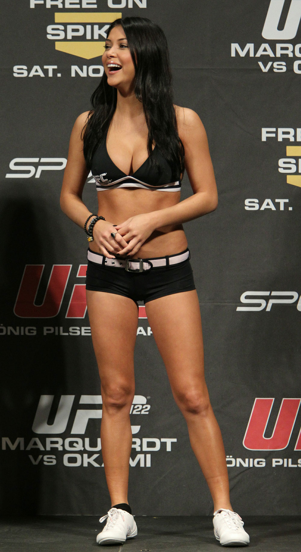 UFC Octagon Girl Arianny Celeste at the UFC 122 weigh-in at the K&scaron;nig Pilsener Arena on November 12,  2010 in Oberhausen, Germany.  (Photo by Josh Hedges/Zuffa LLC/Zuffa LLC via Getty Images)