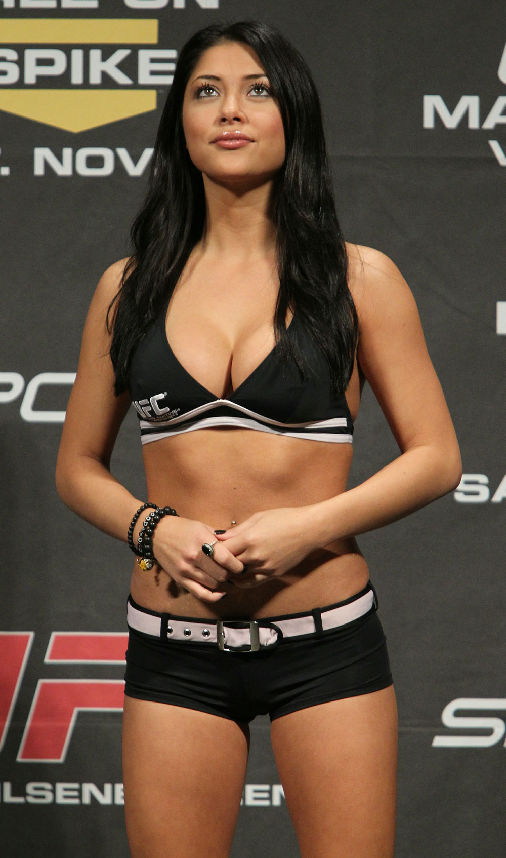 UFC Octagon Girl Arianny Celeste at the UFC 122 weigh-in at the Kšnig Pilsener Arena on November 12,  2010 in Oberhausen, Germany.  (Photo by Josh Hedges/Zuffa LLC/Zuffa LLC via Getty Images)