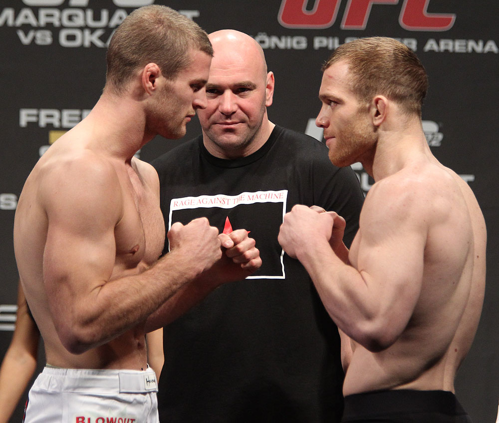 Krauss vs. Scanlon face off at the UFC 122 weigh-in at the Kšnig Pilsener Arena on November 12,  2010 in Oberhausen, Germany.  (Photo by Josh Hedges/Zuffa LLC/Zuffa LLC via Getty Images)