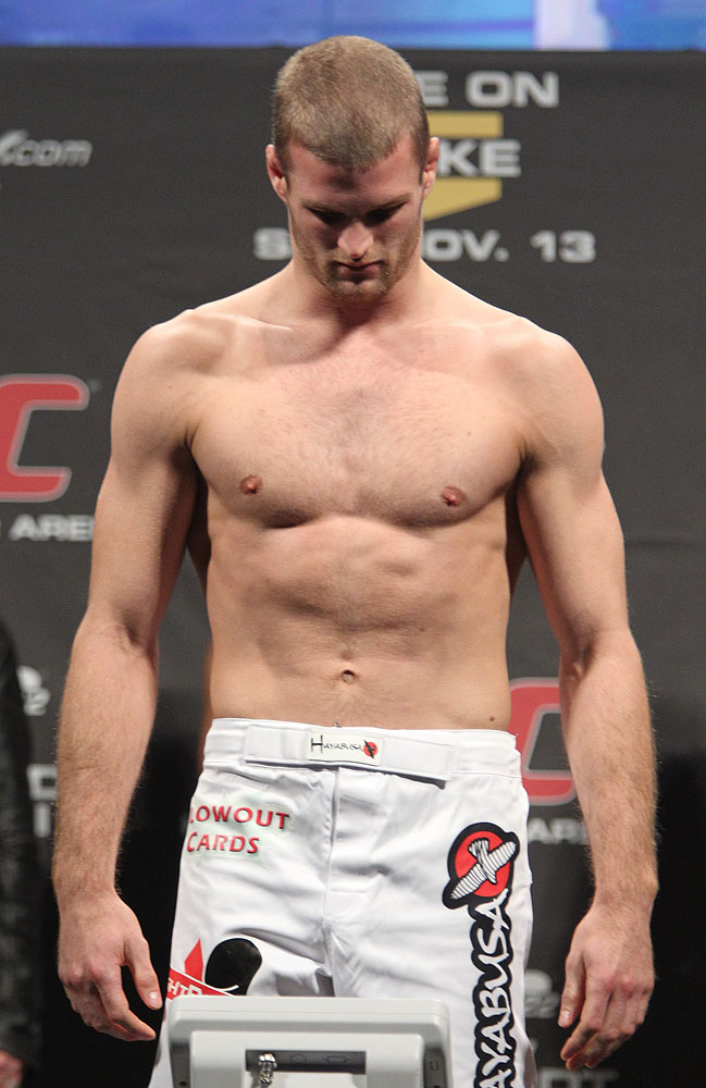 Pascal Krauss weighs in at the UFC 122 weigh-in at the Kšnig Pilsener Arena on November 12,  2010 in Oberhausen, Germany.  (Photo by Josh Hedges/Zuffa LLC/Zuffa LLC via Getty Images)