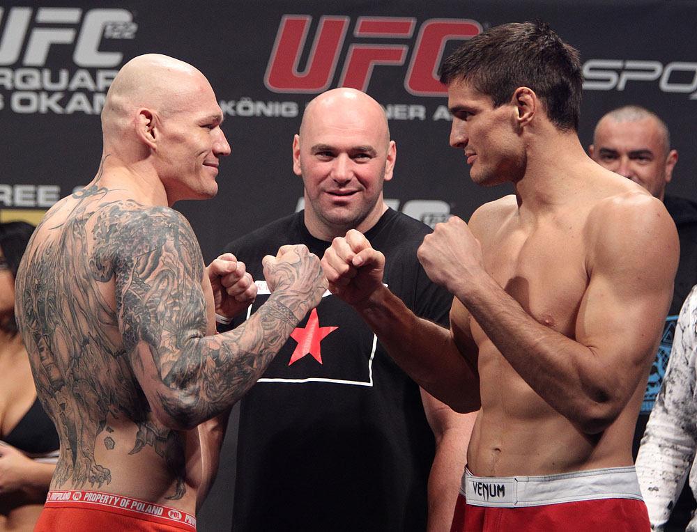 Kszystztof vs. Reljic face off at the UFC 122 weigh-in at the K&scaron;nig Pilsener Arena on November 12,  2010 in Oberhausen, Germany.  (Photo by Josh Hedges/Zuffa LLC/Zuffa LLC via Getty Images)