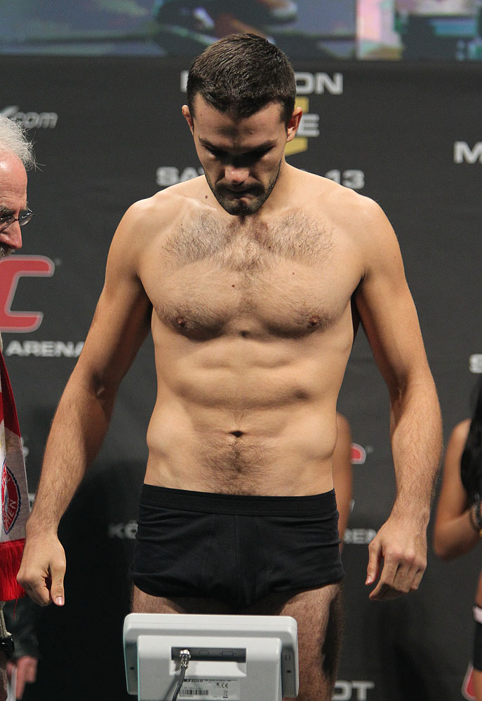 Peter Sobotta weighs in at the UFC 122 weigh-in at the K&scaron;nig Pilsener Arena on November 12,  2010 in Oberhausen, Germany.  (Photo by Josh Hedges/Zuffa LLC/Zuffa LLC via Getty Images)
