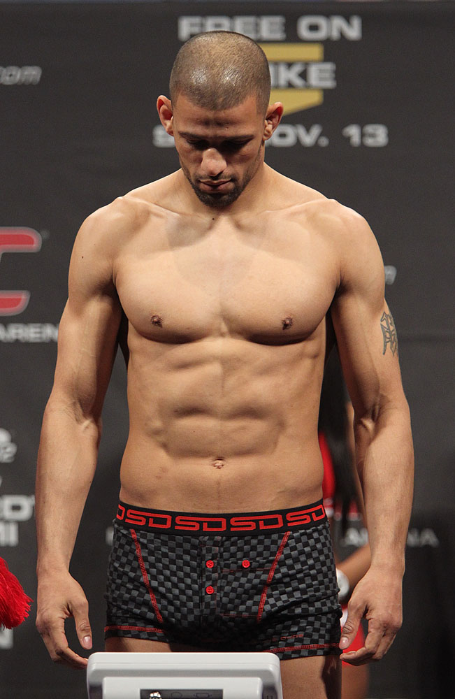 Andre Winner weighs in at the UFC 122 weigh-in at the Kšnig Pilsener Arena on November 12,  2010 in Oberhausen, Germany.  (Photo by Josh Hedges/Zuffa LLC/Zuffa LLC via Getty Images)