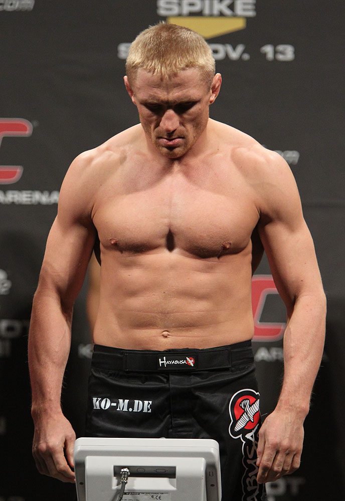 Dennis Siver weighs in at the UFC 122 weigh-in at the Kšnig Pilsener Arena on November 12,  2010 in Oberhausen, Germany.  (Photo by Josh Hedges/Zuffa LLC/Zuffa LLC via Getty Images)