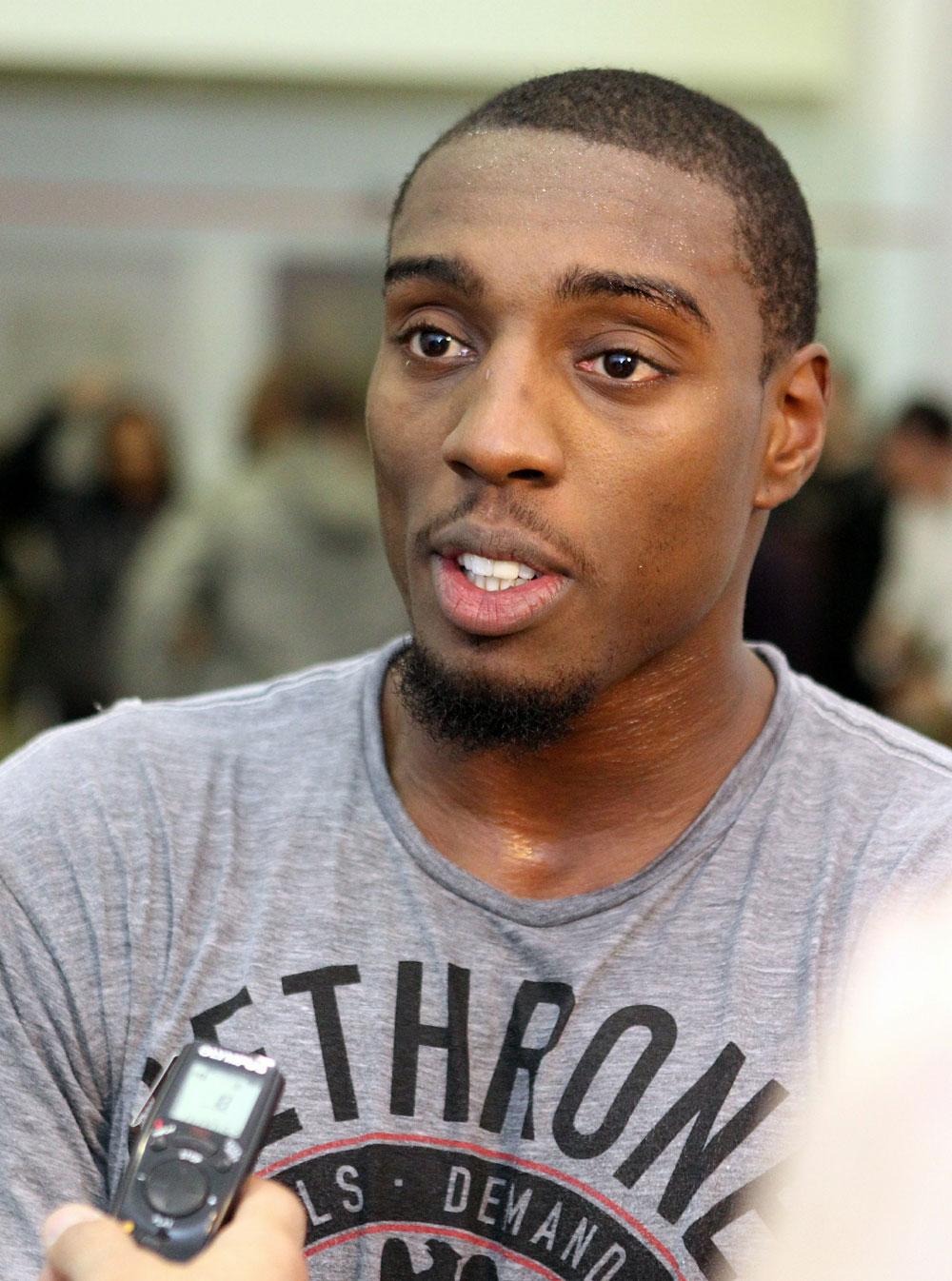 Phil Davis answers questions from the media at the UFC 123 open workouts at the Detroit Athletic Club in Detroit, Michigan on November 18, 2010  (Photo by Josh Hedges/Zuffa LLC/Zuffa LLC via Getty Images)
