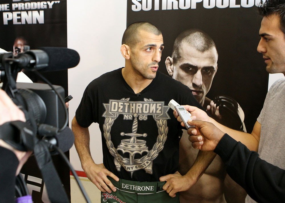 George Sotiropoulos answers questions from the media at the UFC 123 open workouts at the Detroit Athletic Club in Detroit, Michigan on November 18, 2010  (Photo by Josh Hedges/Zuffa LLC/Zuffa LLC via Getty Images)