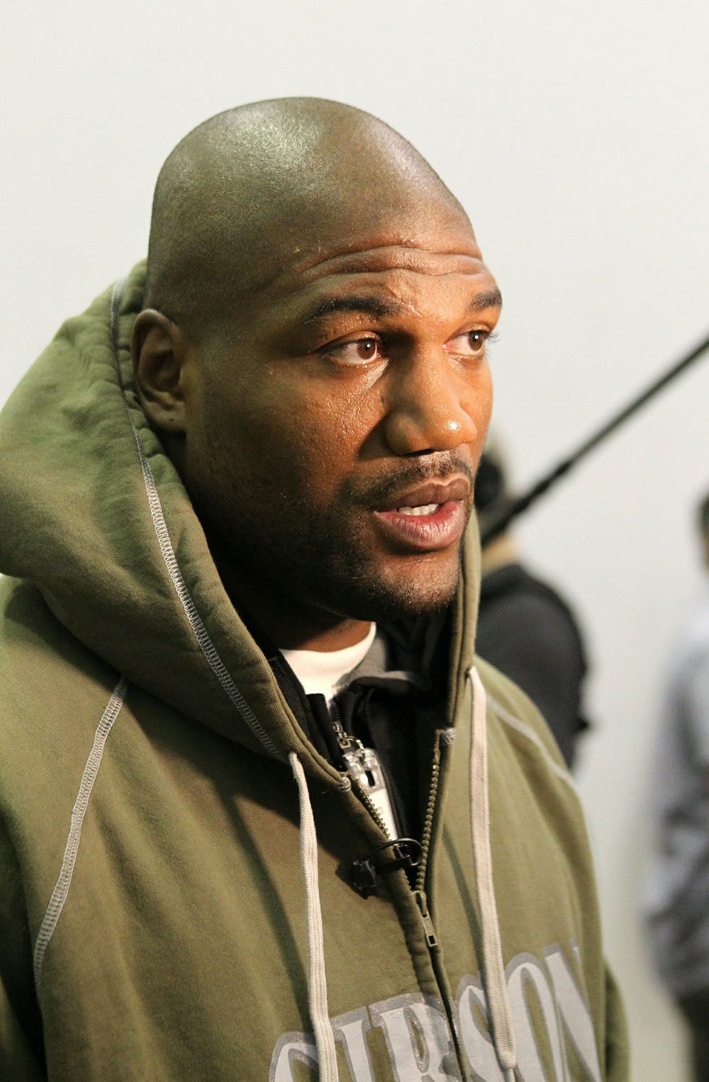 "Quinton ""Rampage"" Jackson answers questions from the media at the UFC 123 open workouts at the Detroit Athletic Club in Detroit, Michigan on November 18, 2010  (Photo by Josh Hedges/Zuffa LLC/Zuffa LLC via Getty Images)"