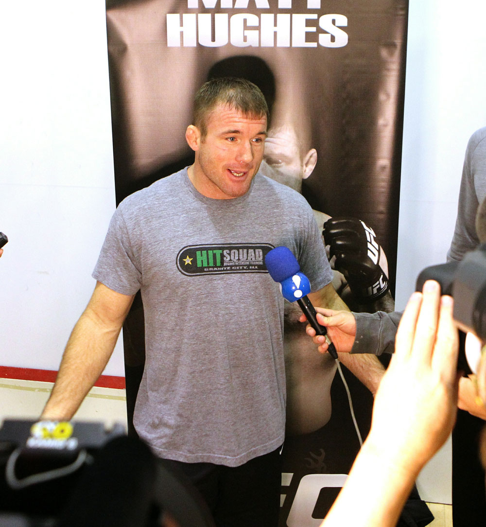 Matt Hughes answers questions from the media at the UFC 123 open workouts at the Detroit Athletic Club in Detroit, Michigan on November 18, 2010  (Photo by Josh Hedges/Zuffa LLC/Zuffa LLC via Getty Images)
