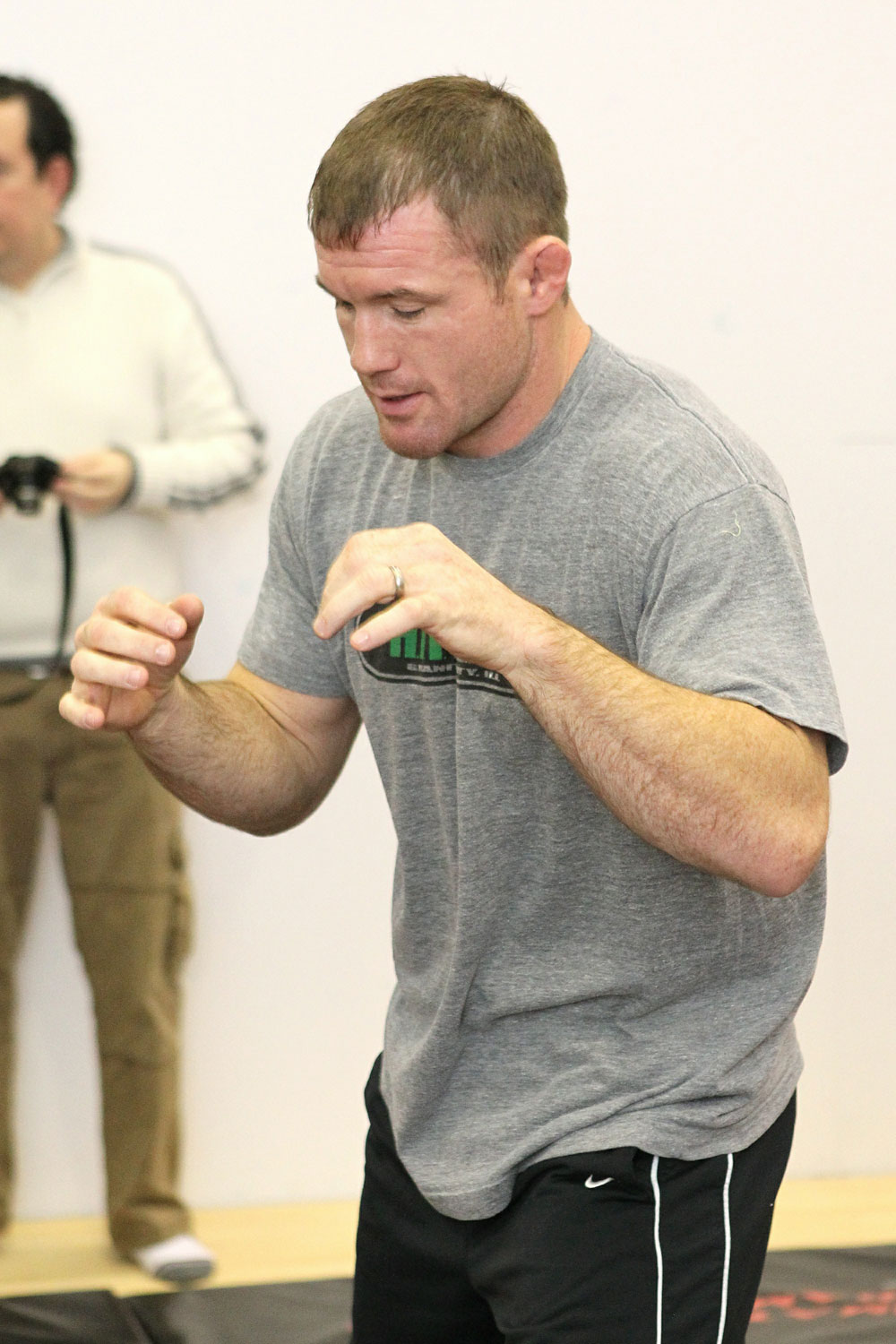 Matt Hughes works out for the media at the UFC 123 open workouts at the Detroit Athletic Club in Detroit, Michigan on November 18, 2010  (Photo by Josh Hedges/Zuffa LLC/Zuffa LLC via Getty Images)