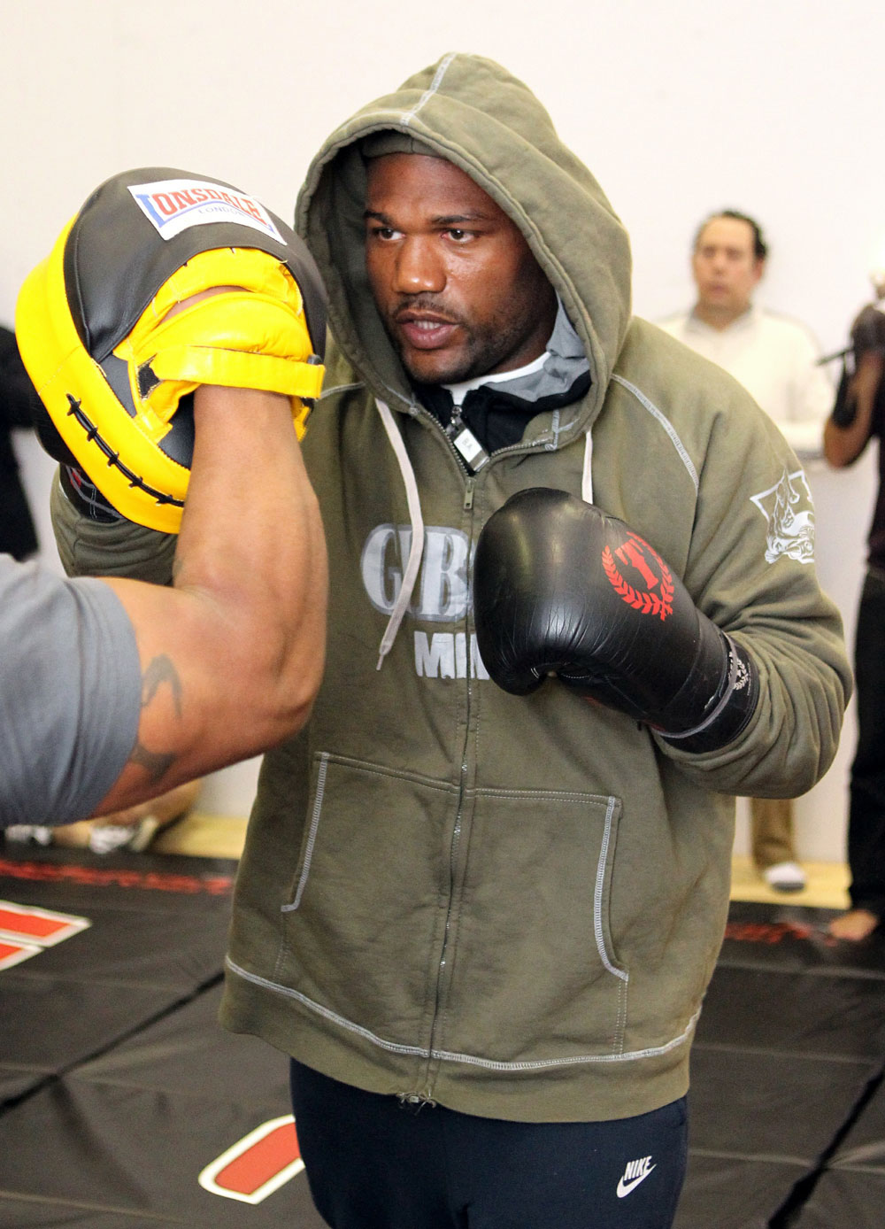 "Quinton ""Rampage"" Jackson works out for the media at the UFC 123 open workouts at the Detroit Athletic Club in Detroit, Michigan on November 18, 2010  (Photo by Josh Hedges/Zuffa LLC/Zuffa LLC via Getty Images)"