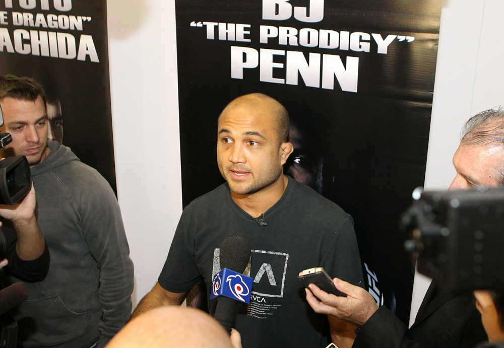 BJ Penn answers questions from the media at the UFC 123 open workouts at the Detroit Athletic Club on November 18, 2010 in Detroit, Michigan.  (Photo by Josh Hedges/Zuffa LLC/Zuffa LLC via Getty Images)