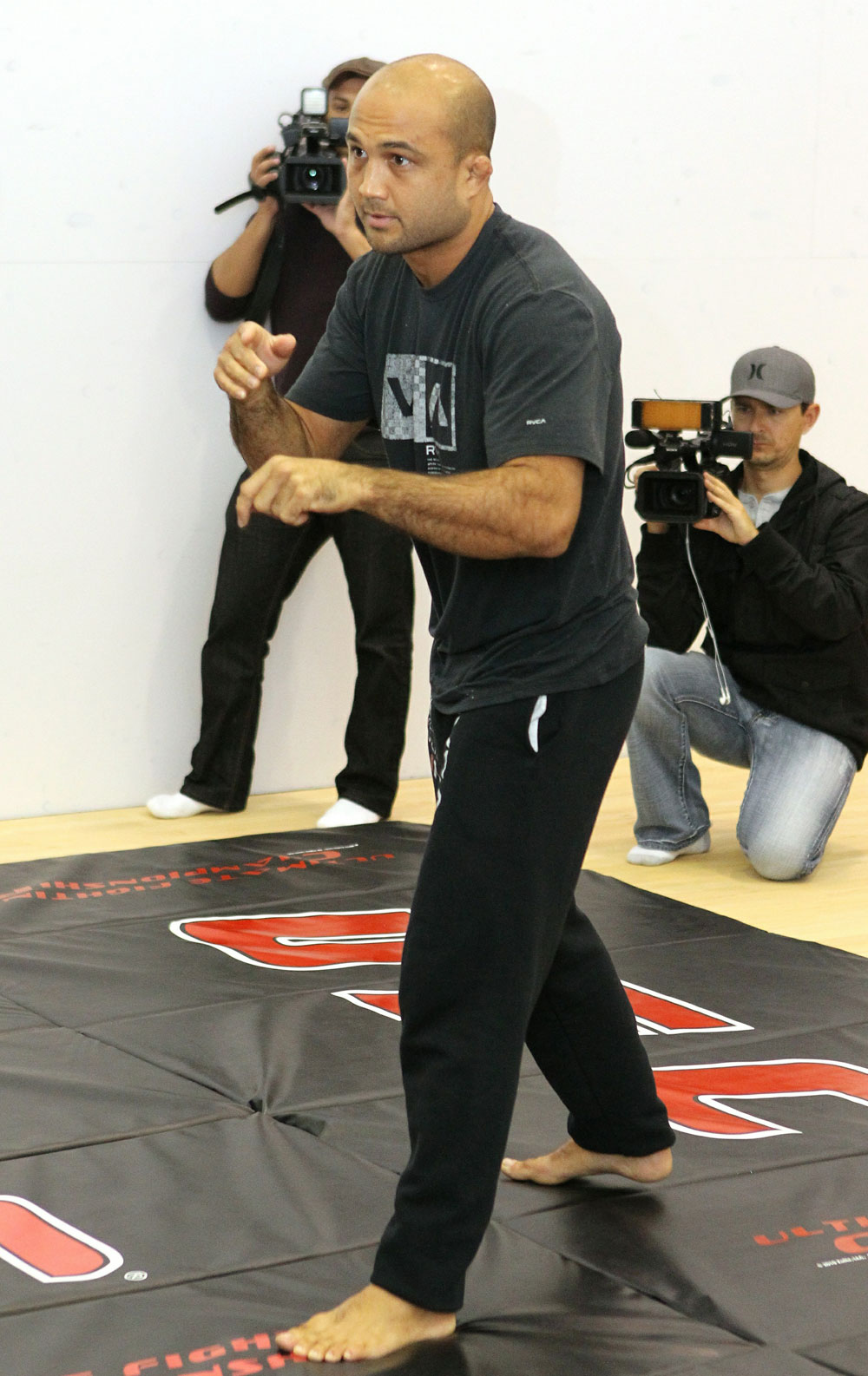 BJ Penn works out for the media at the UFC 123 open workouts at the Detroit Athletic Clubon November 18, 2010 in Detroit, Michigan.  (Photo by Josh Hedges/Zuffa LLC/Zuffa LLC via Getty Images)
