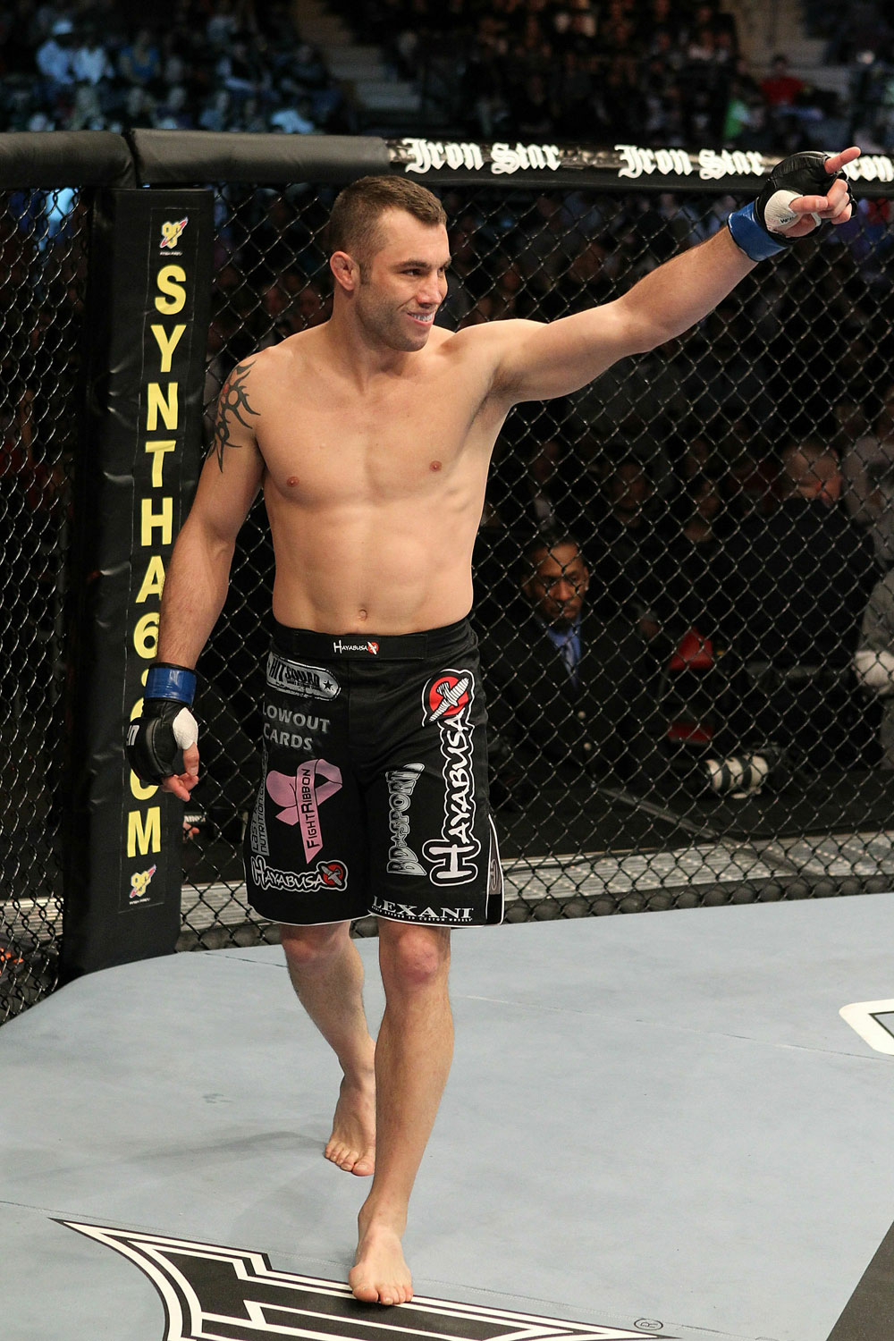UFC 123: Brian Foster celebrates his victory over Matt Brown.