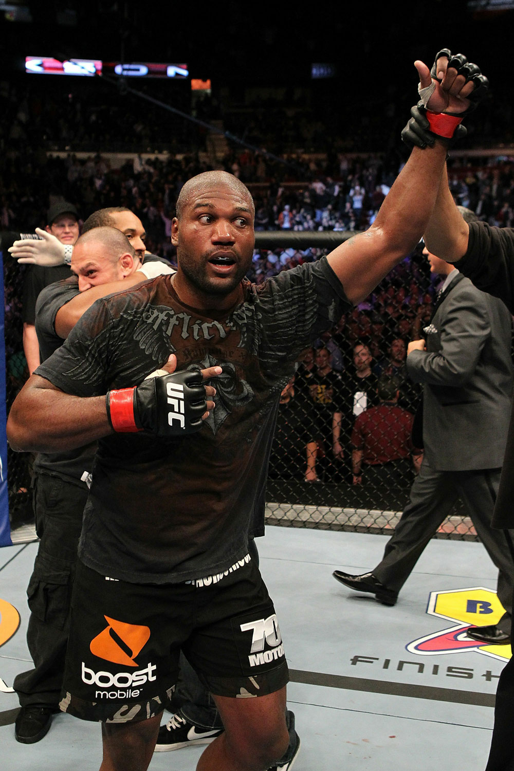 "UFC 123: Quinton ""Rampage"" Jackson reacts to his victory by decision."
