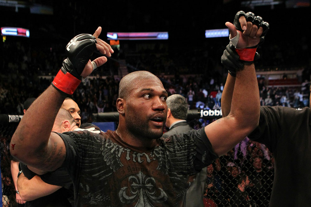 UFC 123: Quinton &quot;Rampage&quot; Jackson reacts to his victory by decision.