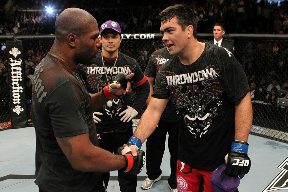 "UFC 123: Quinton ""Rampage"" Jackson and Lyoto ""The Dragon"" Machida shake hands after their fight."