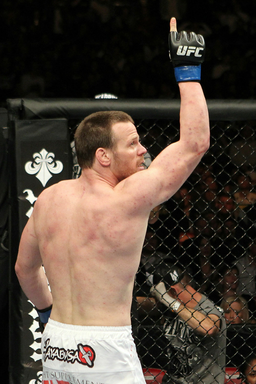 UFC123: Dennis Hallman celebrates after he won his fight by TKO against Karo Parisyan.