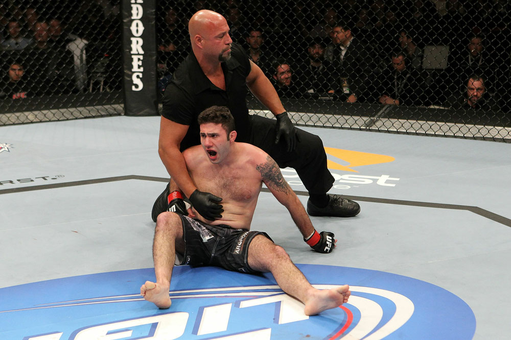 UFC 123: Karo Parisyan reacts during his fight against Dennis Hallman during their fight.