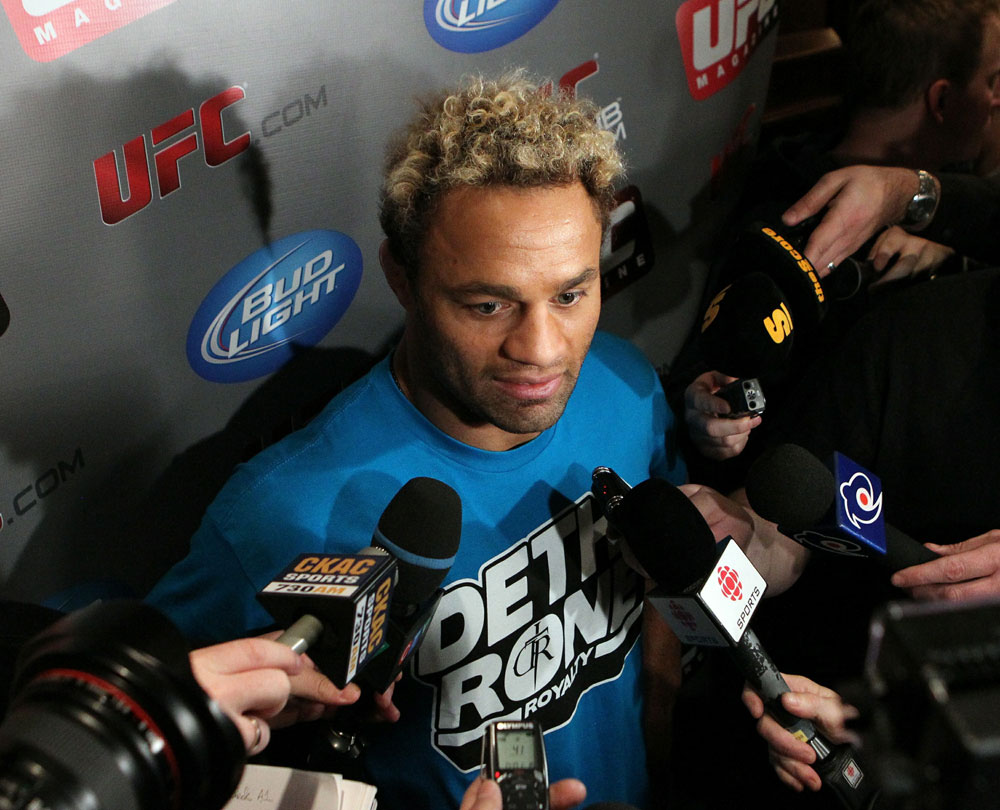 Josh Koscheck answers questions at the UFC 124 open workouts at the Marriott Chateau Champlain in on December 8, 2010 in Montreal, Quebec, Canada.