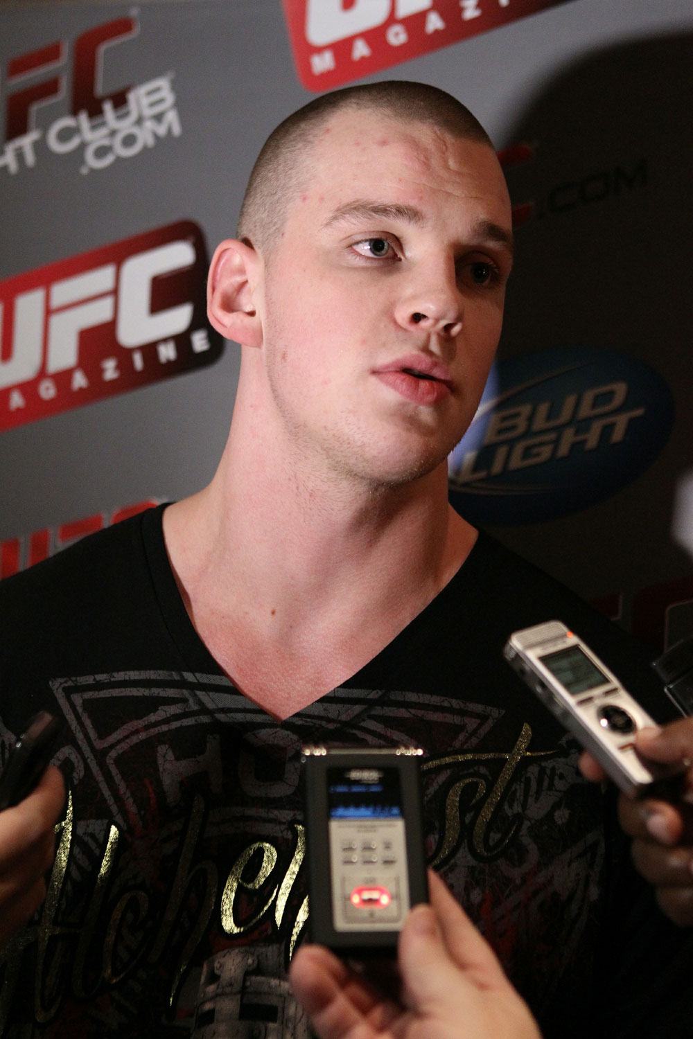 Stefan Struve answers questions at the UFC 124 open workouts at the Marriott Chateau Champlain in on December 8, 2010 in Montreal, Quebec, Canada.