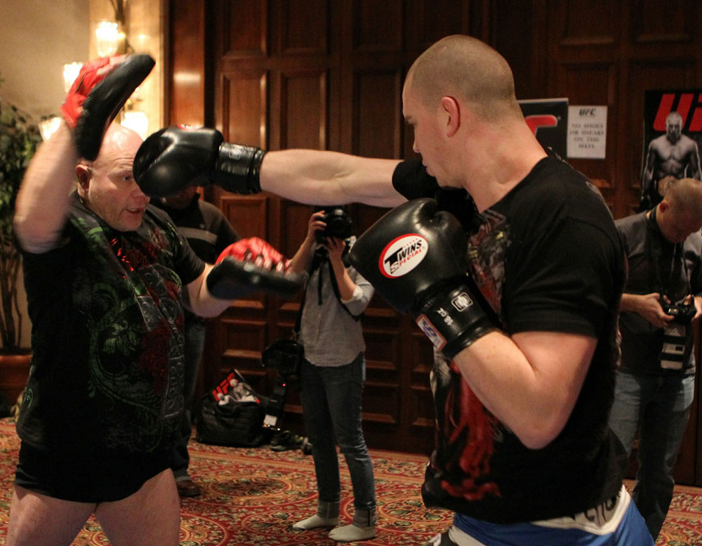Stefan Struve at the open workouts at the Marriott Chateau Champlain in on December 8, 2010 in Montreal, Quebec, Canada.