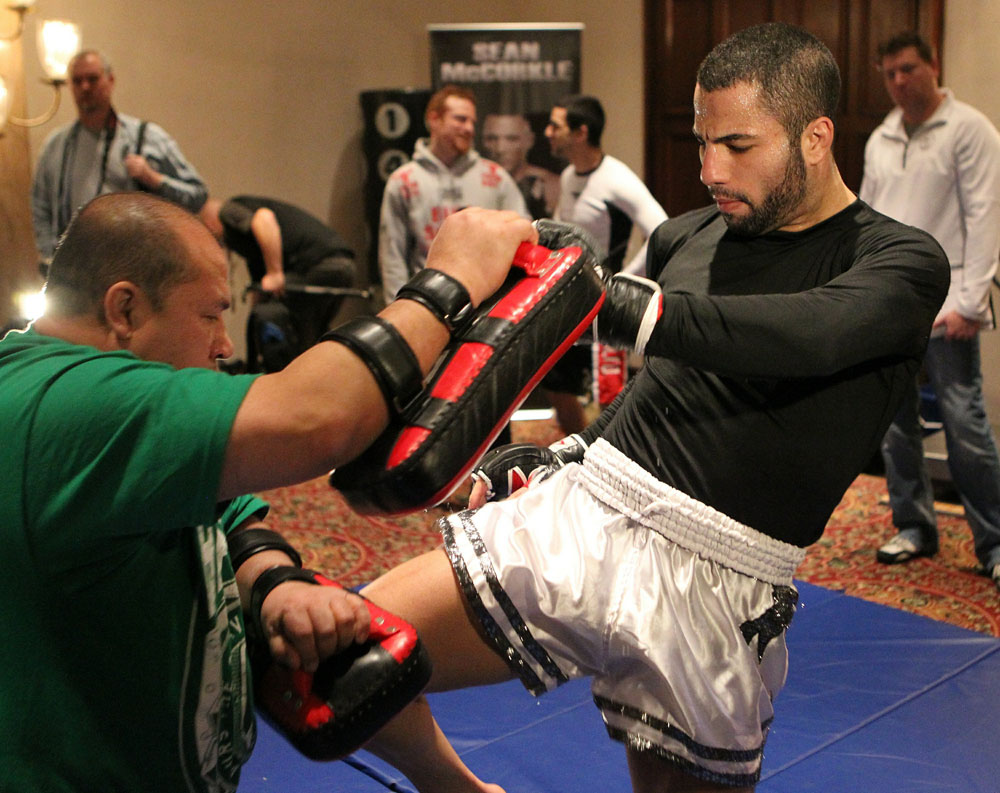 UFC 124 open workouts at the Marriott Chateau Champlain in on December 8, 2010 in Montreal, Quebec, Canada.