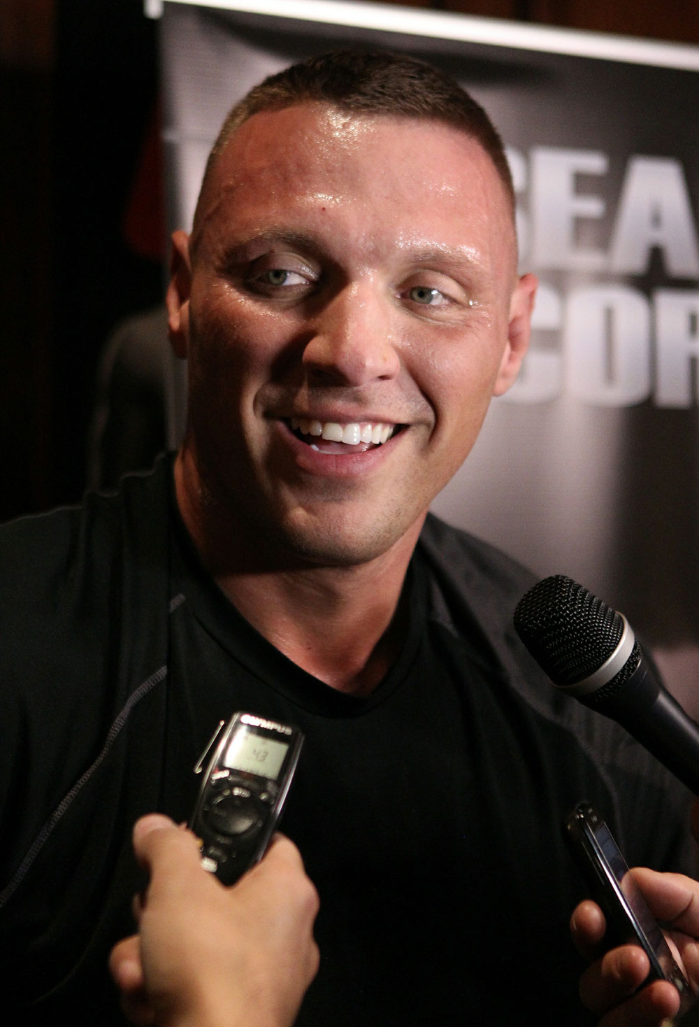 Sean McCorkle answers questions from the press at the UFC 124 open workouts at the Marriott Chateau Champlain in on December 8, 2010 in Montreal, Quebec, Canada.