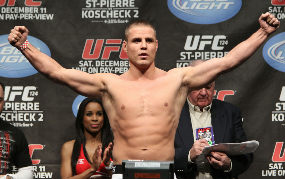 UFC 124 Weigh-in: Jesse Bongfeldt weighs in at 185.5lbs.