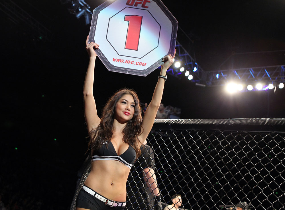 SYDNEY, AUSTRALIA - MARCH 03:  UFC Octagon Girl Arianny Celeste introduces round one before the Pineda v Semerzier bout during the UFC on FX event at Allphones Arena on March 3, 2012 in Sydney, Australia.  (Photo by Josh Hedges/Zuffa LLC/Zuffa LLC via Getty Images) *** Local Caption *** Arianny Celeste