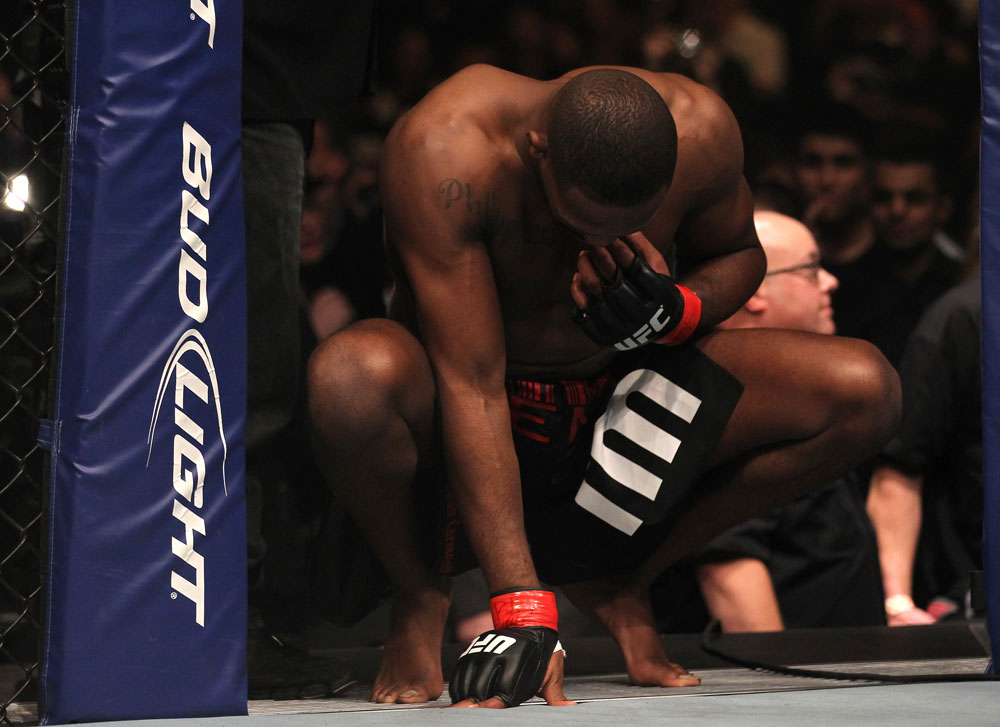 TORONTO, ON - DECEMBER 10:  Jon &quot;Bones&quot; Jones prepares to enter the Octagon before his bout against Lyoto Machida during the UFC 140 event at Air Canada Centre on December 10, 2011 in Toronto, Ontario, Canada.  (Photo by Nick Laham/Zuffa LLC/Zuffa LLC via Getty Images)